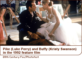 Pike (Luke Perry) and Buffy (Kristy Swanson) in the 1992 feature film
