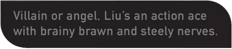 Villain or angel, Liu's an action ace with brainy brawn and steely nerves.