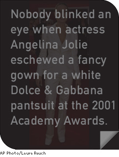 Nobody blinked an eye when actress Angelina Jolie eschewed a fancy gown for a white Dolce & Gabbana pantsuit at the 2001 Academy Awards.