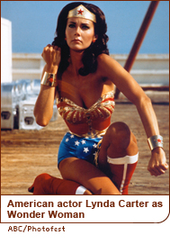American actor Lynda Carter as Wonder Woman