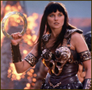 A still from the TV show of Xena throwing her favorite weapon, the chakram