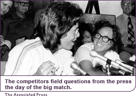 The competitors field questions from the press the day of the big match.