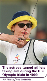 The actress-turned-athlete taking aim during the U.S. Olympic trials in 1999