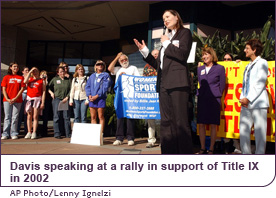 Davis speaking at a rally in support of Title IX in 2002