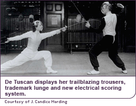 De Tuscan displays her trailblazing trousers, trademark lunge and new electrical scoring system.