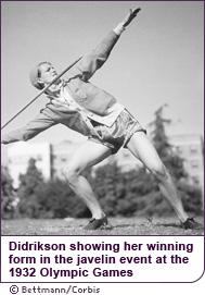 Didrikson showing her winning form in the javelin event at the 1932 Olympic Games