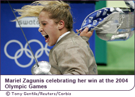 Mariel Zagunis celebrating her win at the 2004 Olympic Games
