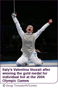 Italy's Valentina Vezzali after winning the gold medal for individual foil at the 2004 Olympic Games