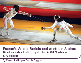 France#146;s Valerie Barlois and Austria's Andrea Rentmeister battling at the 2000 Sydney Olympics