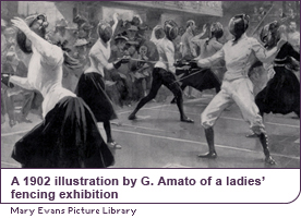A 1902 illustration by G. Amato of a ladies' fencing exhibition