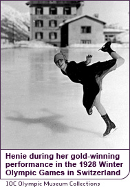 Henie during her gold-winning performance in the 1928 Winter Olympic Games in Switzerland