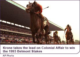 Julie Krone takes the lead on Colonial Affair to win the 1993 Belmont Stakes