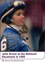 Julie Krone at the Belmont Racetrack in 1990