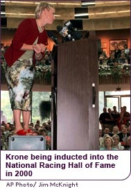 Julie Krone being inducted into the National Racing Hall of Fame in 2000