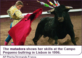 The matadora shows her skills at the Campo Pequeno bullring in Lisbon in 1996.