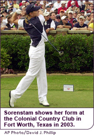 Sorenstam tees off on the 10th hole of the Colonial Country Club in Fort Worth, Texas in 2003.