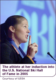 Picabo Street at her induction into the U.S. National Ski Hall of Fame in 2005
