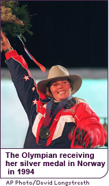 The Olympian Picabo Street receiving her silver medal in Norway in 1994