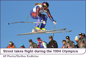 Picabo Street takes flight during the 1994 Olympics
