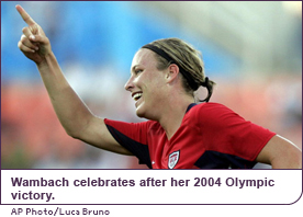 Wambach celebrates after her 2004 Olympic victory.