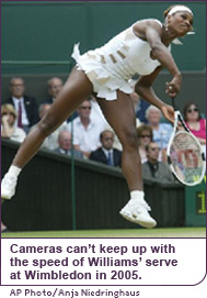 Even the cameras can't keep up with the speed of Williams' serve at Wimbledon in 2005.