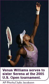Venus serves to her sister at the 2005 U.S. Open tournament.