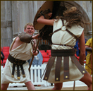 A reenactment of gladiatorial combat in London