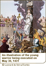 An illustration of the young warrior being executed on May 30, 1431