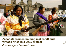 Zapatista women holding makeshift and vintage rifles in a 2005 protest