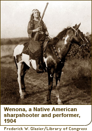 Wenona, a Native American sharpshooter and performer, 1904