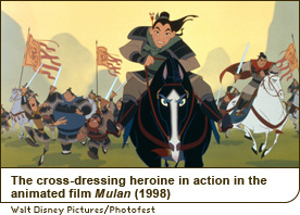 The cross-dressing heroine in action in the animated film Mulan (1998)