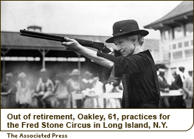 Out of retirement, Oakley, 61, practices for the Fred Stone Circus in Long Island, N.Y.