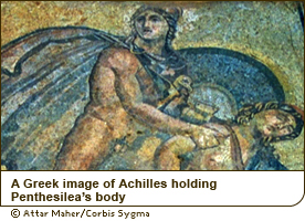 A Greek image of Achilles holding Penthesilea's body