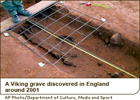 A Viking grave discovered in England around 2001