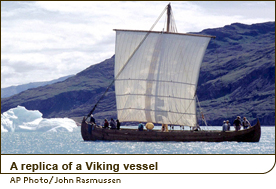 A replica of a Viking vessel