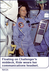 Floating on Challenger's middeck, Ride wears her communications headset.