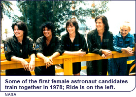 Some of the first female astronaut candiates train together in 1978; Ride is on the left.