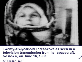 Twenty-six-year-old Tereshkova as seen in a television transmission from her spacecraft, <em>Vostok 6</em>, on June 16, 1963